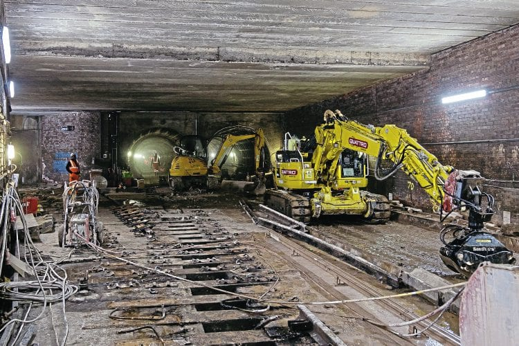 A rare view of Glasgow's Subway underground at the point between Govan and Ibrox stations, where the connection leads off left to the Broomloan Road depot. This picture, taken on July 4, shows work getting underway to replace track and pointwork. JONATHAN MCGURK