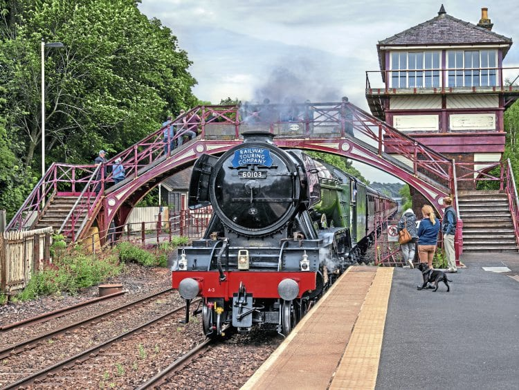 The maximum permitted length train for 'A3' No. 60103 Flying Scotsman – unassisted – is 12 carriages. With just that load, it passes Haltwhistle with the diverted July 17 'Waverley' for Carlisle. JOHN COOPER SMITH