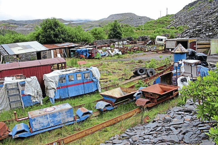The Blaenau site on July 25 showing part of the unconventional collection accumulated by Rich Morris. In the foreground is a monorail trailer adapted to carry a water tank. PETER NICHOLSON