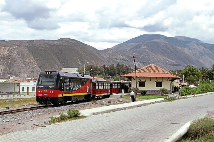 FEEP Tren Ecuador-branded Bo-Bo 2003 at Salinas, the northern limit of the rebuilt section of the Quito to San Lorenzo line, with the tourist train from Otavalo on March 5. This diesel loco is one of three bought by FEEP from Euskotren Kargo in Spain. The loco is one of 12 built (as metre-gauge electro-diesels) for Euskotren by Spanish rail engineering firm Ingeteam from 2010-2012. The freight services planned for these locos in Spain never actually materialised, and seven of the locos were stored after delivery. DR IAIN SCOTCHMAN