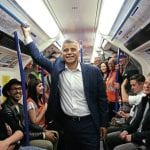 London Mayor, Sadiq Khan, joins late-night passengers on the first regular weekend operation of the Tube. PICTURE: PRESS ASSOCIATION