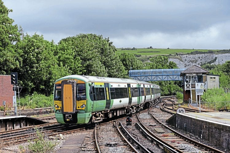 Southern Class 377 No. 377130 arrives at Lewes about with the 10.55 Eastbourne-Victoria on July 11, the first day of the emergency timetable in which 341 trains per day have been cancelled. CHRIS WILSON