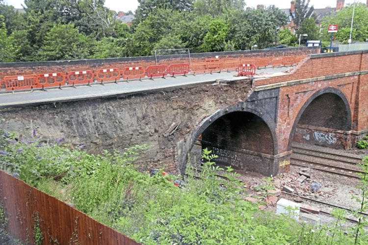 The damaged bridge viewed 10 hours after the parapet collapse. CHRIS MILNER
