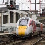 A Class 800 series Azuma train arriving at KIng's Cross on March 18 for a press launch.