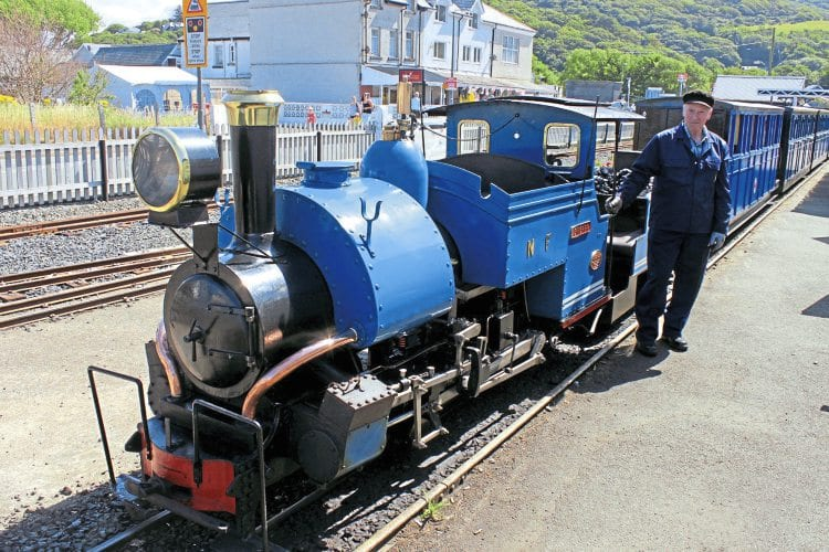 Course participant John Bromley with scaled down version of a Darjeeling Railway 'B' class 0-4-0ST at the Fairbourne Railway.