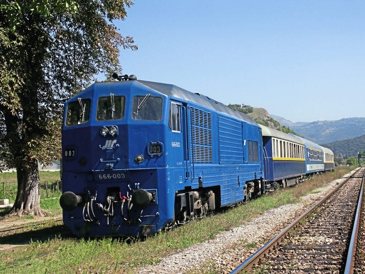 One of the four Serbian JT22CW-2 locos – No. 666.003 – at Staničenje, Serbia, on September 8, 2005, during the ADL Tours 'Stamboul Express' charter. IAN B SMITH