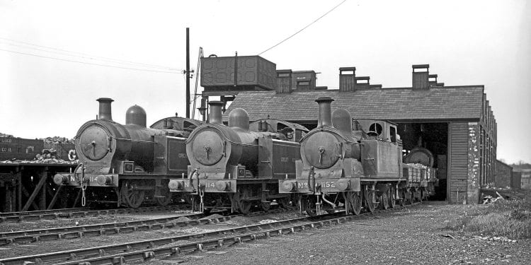 Three former LD&ECR tank locos at Tuxford shed, comprising two LNER class 'M1' 0-6-4Ts and 0-4-4T No. 1152B, which became LNER class 'G3'. W H WHITWORTH/RAIL ARCHIVE STEPHENSON