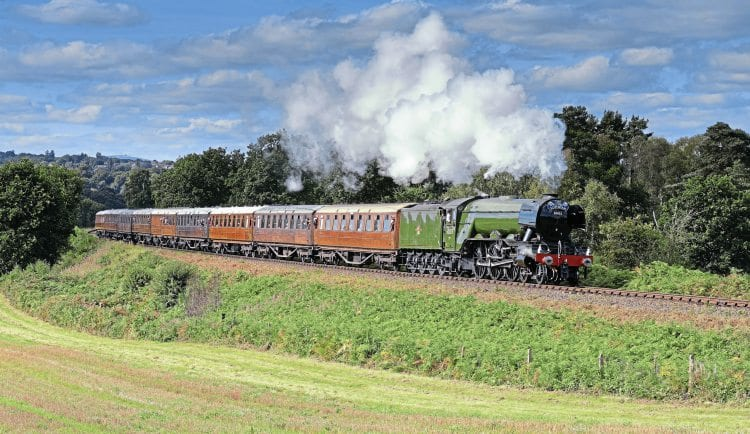 Sir Nigel Gresley would have been proud: 'A3' No. 60103 Flying Scotsman approaches Foley Park tunnel on September 23 with a train of nine teak carriages in tow. SIMON WEBB