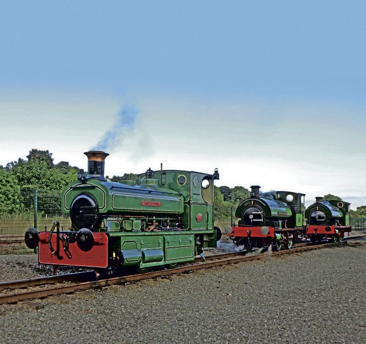 With its 'skirts' down, Bon-Accord lines up with Sir Cecil A Cochrane and Agecroft No. 1 at the close of Locomotion's four-coupled themed gala on September 18. ANTHONY COULLS