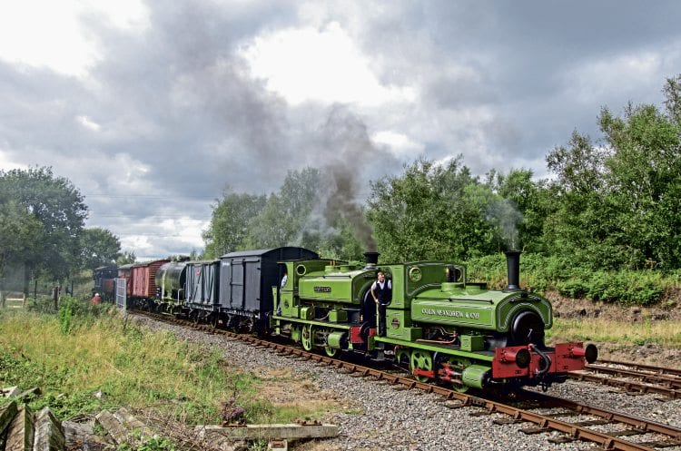 With a combined age of 207 years, Andrew Barclay 0-4-0STs Colin McAndrew and Rosyth No. 1 enter Chasewater Heaths station with a mixed freight from Brownhills West on September 4. ALISTAIR GRIEVE