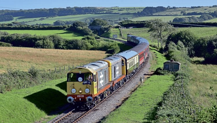 On the Swanage branch, Nos. 20118 and 20132 lead 'GBRf 15' to King's Cross on September 8. STEPHEN GINN