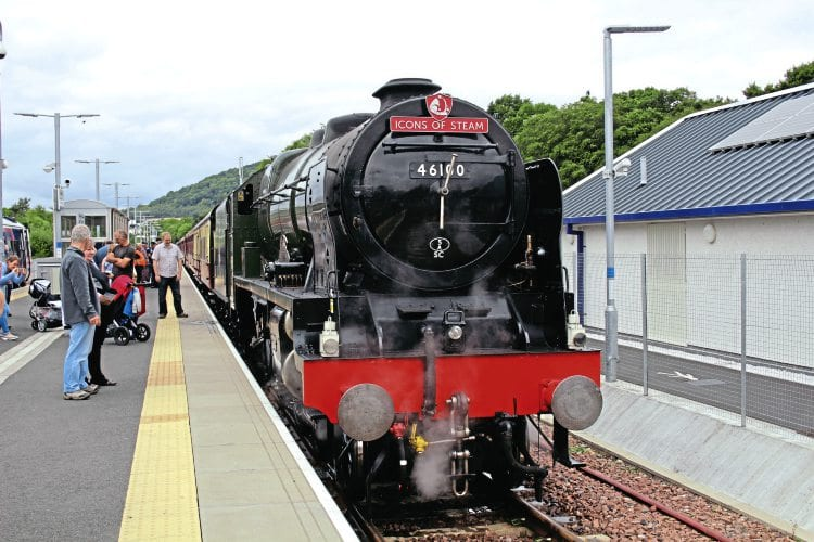 No. 46100 Royal Scot at Tweedbank after arrival with a steam special from Edinburgh Waverley on August 14. IONA BUTLIN