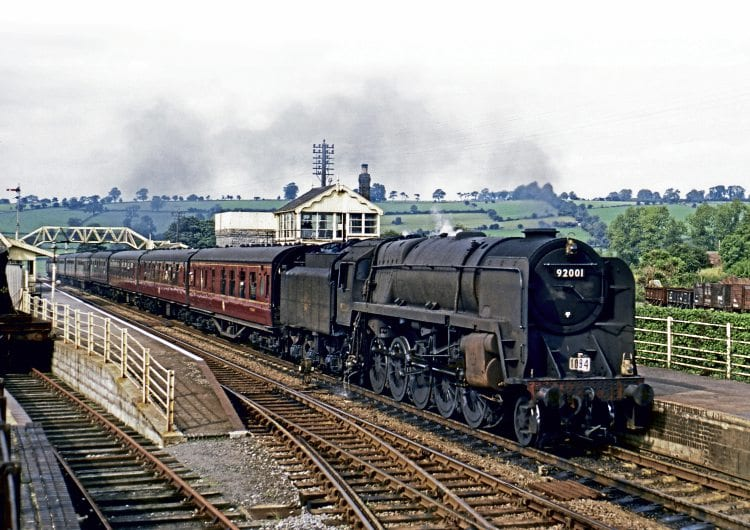 BR Standard '9F' 2-10-0 No. 92001 passes Shepton Mallet at the head of a Bradford to Bournemouth through train on September 1, 1962. DAVE COBBE/RAIL PHOTOPRINTS