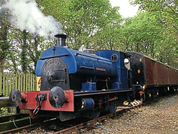 Newly arrived Peckett 0-4-0ST William Murdoch simmers with its first fire at Prospidnick, Helston Railway, on October 9. KEN WOOD