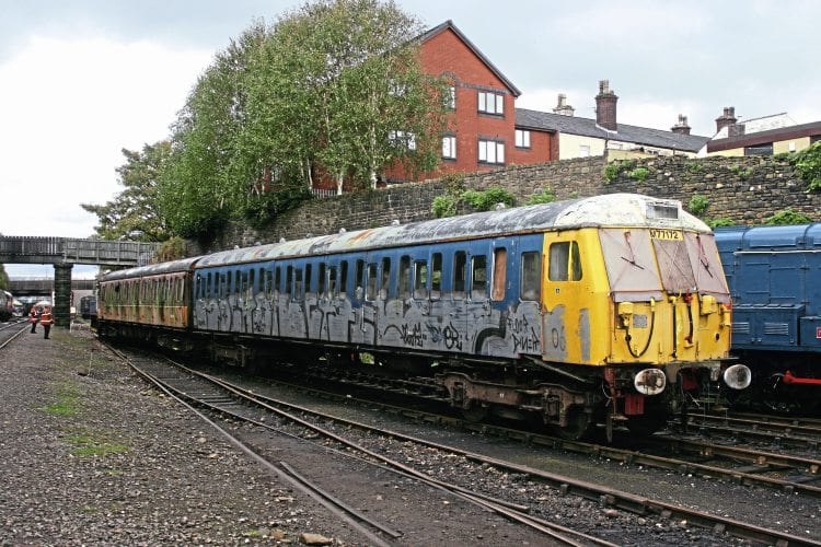 Class 504 trailer car No. M77172 being drawn away from the carriage and wagon sidings at Bury on October 16 while being repositioned at Buckley Wells, to where it can be worked on by the preservation society. SIMON THOMAS