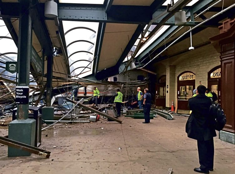 The wreckage of the NJT train after part of Hoboken station roof was brought down. TWITTER