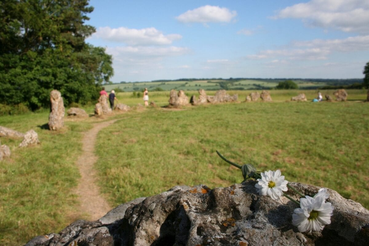 Flowery tribute at the Rollright Stones, summer solstice