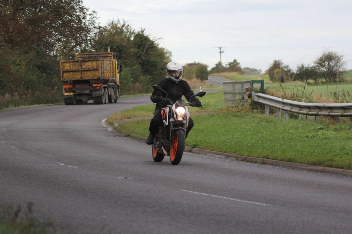 Riding a motorcycle in wind