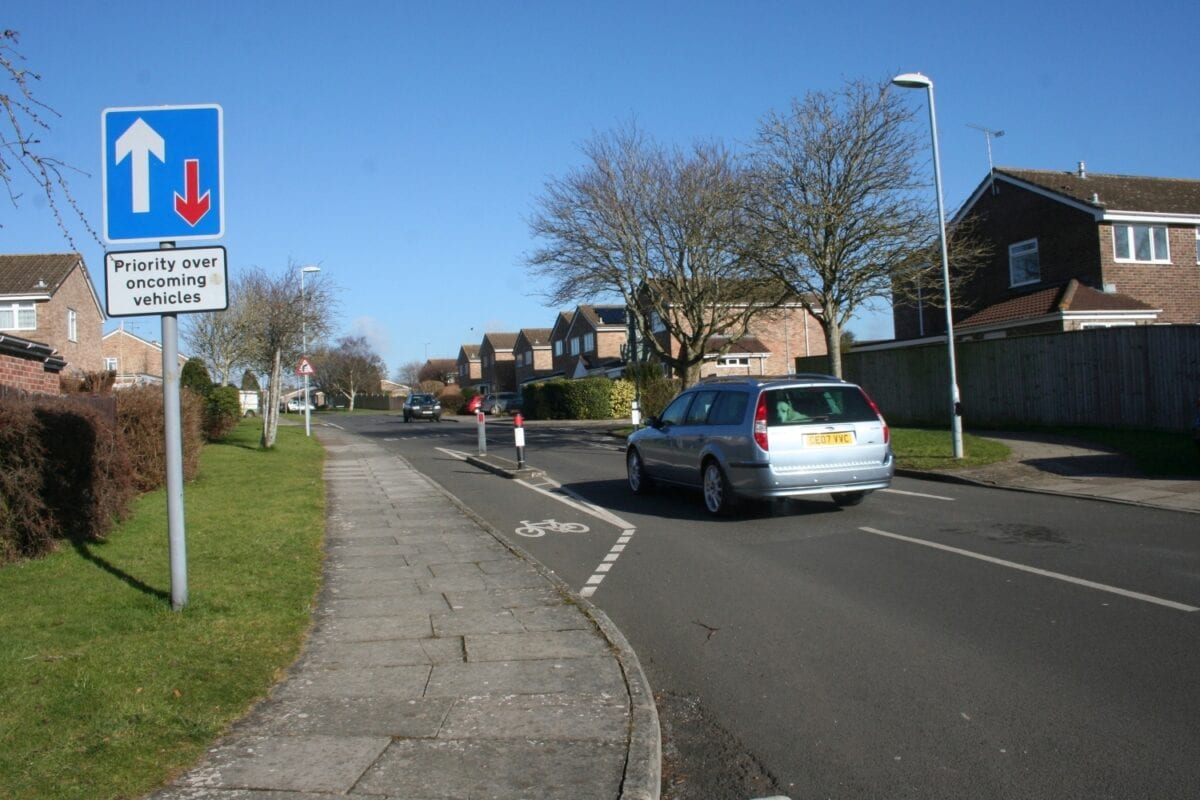 One-way pinch point makes priorities clear...but don't be tempted by that cycle lane