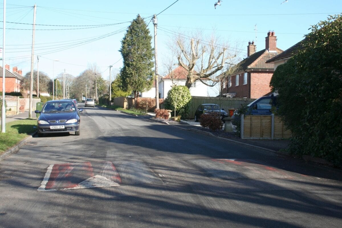 Spot the speed cushion? If markings are almost worn away (as here), ask the Council to paint them back